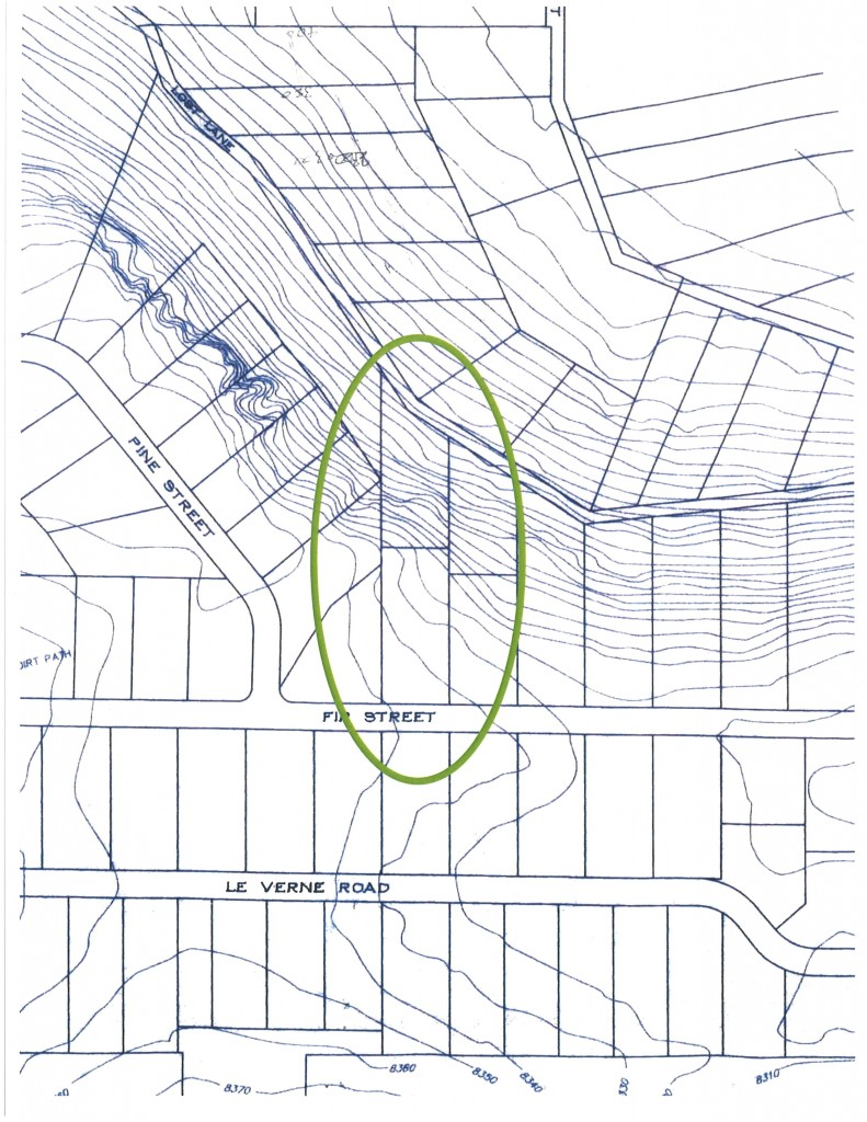 325 Fir St. & 156 Lost Lane topographic map